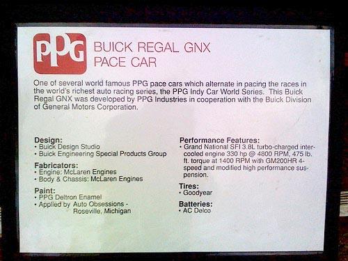 buick regal gnx 1987 ppg pace car